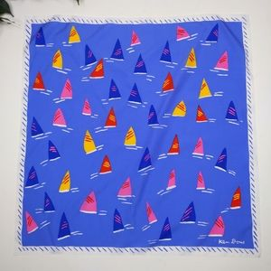 Ken Done Vintage Sailboat Print Square Silk Scarf
